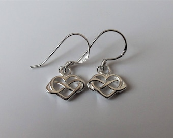 Sterling Silver Infinity Heart Earrings 22mm x 11mm.