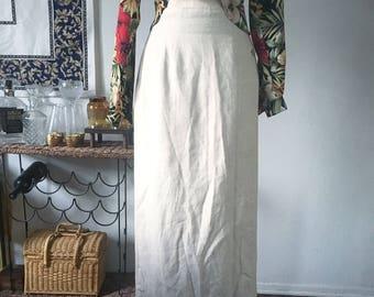 Vintage Full Length Buff Linen Skirt