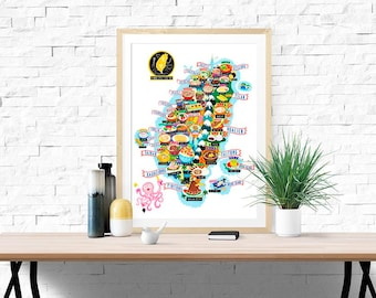 Taiwan Street Food Map Illustration Poster Wall Art