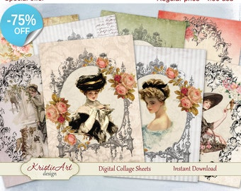 75% OFF SALE Digital Collage Sheet, Ladies Frames Sheet, Printable Download Sheet, Digital cards C075, Altered Art, Atc Aceo Jpeg printable