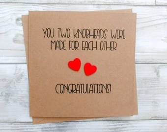 """Handmade funny rude """"Knobheads"""" Congratulations card - engagement, wedding, new home - can be personalised"""