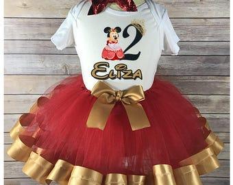 Princess Minnie ribbon trimmed tutu outfit