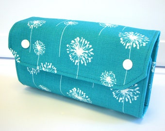 Cash Envelope Wallet  / Dave Ramsey System / Zipper Envelopes - Turquoise Dandelion