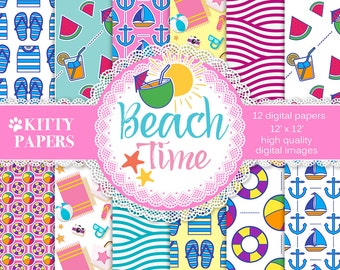 Beach digital paper : Beach Time, colorful nautical papers, sea digital papers, summer digital patterns, pink, blue, yellow, beach pattern