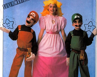 1990s SUPER MARIO BROS & Princess Peach Costume Pattern Simplicity 0668 Childs Size 6 8 10 12 14 LaRP Boy Girl Costume Sewing Patterns UNCuT