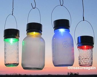 3 Solar Color Mason Jar LIDS Color Changing Mason Jar Solar Lights Outdoor Garden Rotating Rainbow Hanging Mason Jar Solar LIDS No Jars