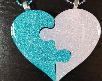 Resin necklace, BBF, Heart, Fairy Kei, Pastel Goth,