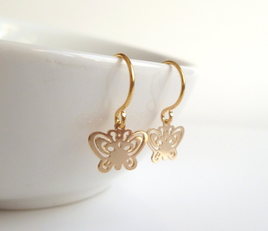 Small Butterfly Earrings tiny gold butterflies with cut out
