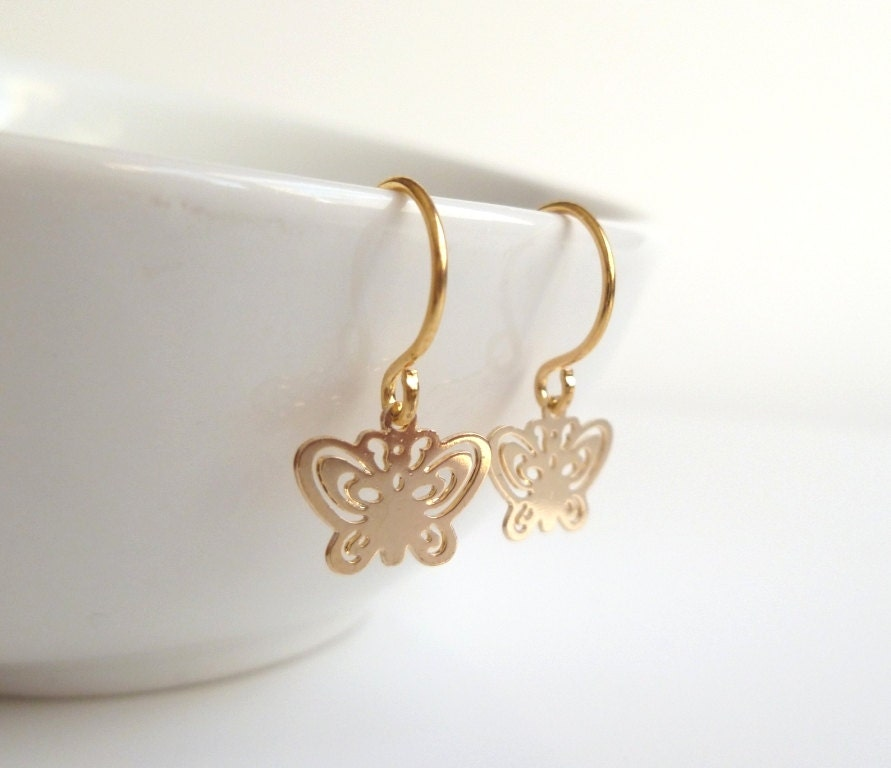 Butterfly Earrings tiny gold butterflies with cut out