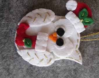 Felt Christmas ornament; Christmas Owl ornament; Felt ornament; Handmade; Christmas gift; Stocking stuffers.
