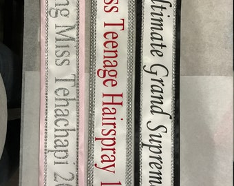 Pageant Sash, Birthday sash, Beauty pageant Sash, Argentina, Miss Universe,  Miss Understood, Group Costume, Miss USA Any Color any wording