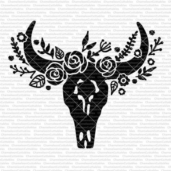 Cow Skull Svg Eps Png Jpeg Dxf Vector Cut File Digital