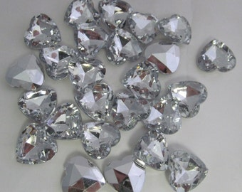 "Clear Transparent Heart Acrylic Gems .62"" 16mm non-sew glue in faceted back - 25 total"