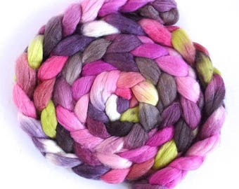 Tulip Magnolia, Merino/ Superwash Merino/ Silk Roving - Handpainted Spinning or Felting Fiber