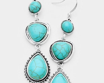 Abstract Triple Turquoise Dangle Earrings - Silver/Turquoise