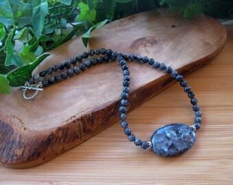 Larvikite Pendant Necklace, Handmade Necklace, Artisan Jewelry, Single Strand Collar Necklace, Gemstone Beaded Necklace, Boho Chic