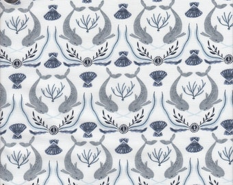 Dear Stella Into the Reef Narwhal Damask in White - Half Yard
