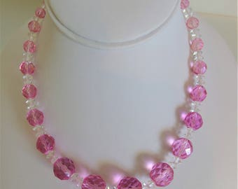 Vintage Pink Crystal Graduated Bead Necklace