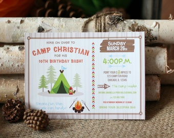 Camping Birthday Invitation/Camping Birthday Party Invitation/Camp Out Party/Sleepover Birthday Party/Camping Party/Boho Invitation/