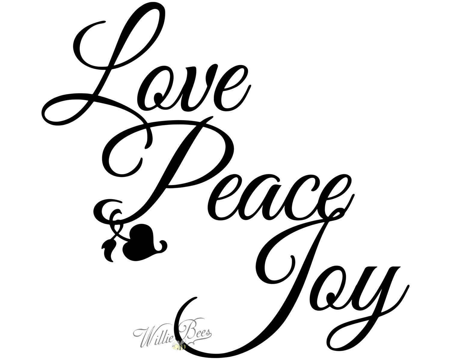 Peace Love Joy Quotes Peace Love Joy Silhouette Words Wall Art Letters Heart