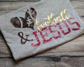 Jesus and football, football shirt, fall shirt, faith shirt, cute football shirt, Jesus shirt, Christian shirt, Jesus and football shirt