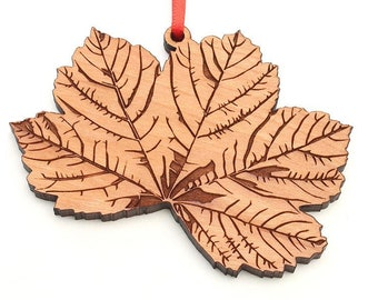 Sycamore Leaf Ornament - Detailed Sycamore Leaf Wood Ornament