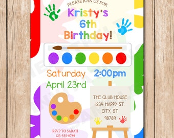 Painting Party Birthday Invitation | Artist, Paint, Boy or Girl, Neutral, Primary Colors - 1.00 each printed