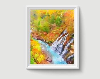 Shirahige Waterfall Blue River Japan Painting Postcard Poster Art Print Q160