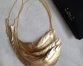 Leather Feather Necklace, Gold Feather Jewelry, Statement Necklace, Bohemian Jewlery, Gold Leather Necklace, Bridal Accessories