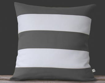 Rugby Striped Pillow Cover in Gray and Cream Linen by JillianReneDecor - Stripes - Modern Home Decor