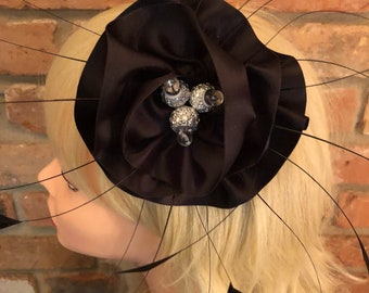 Ready to be shipped black feather fascinator by Taissa Lada,long black burnt coque feathers,gothic,black satin rosette,bridal headpiece,goth