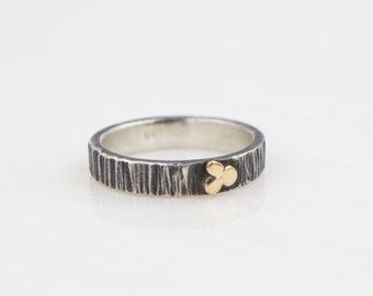 Silver Ring - 10k Gold - Hammer Textured Band - Sterling Silver
