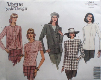 Vogue 1041 Basic Design Sewing Pattern - Stretch Knit Jacket and Top - Turtleneck Top, Twin Set - Sizes 8-10-12, Bust 31 1/2 - 34, Uncut