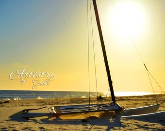 St. George Island Fl, Catamaran, Beach Photography, Sunset photo, Landscape, Ocean photography, Coastal Wall Art, Nautical, Sunset, Beach