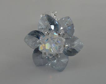 Ice Blue Lily ring Swarovski Crystal beads