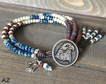 Patriotic Seed Bead Leather Wrap Bracelet/ 4Th Of July Bracelets/ Independence Day Leather Bracelet/ Beaded Wrap Bracelet/ Boho Bracelet.