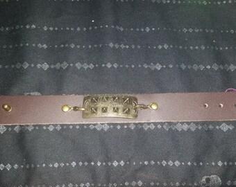 Gold Studded Leather Bracelet