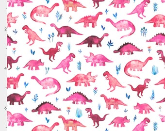 Tiny Pink Dinos Fabric Felt Sheet - Felt Backed Cotton Fabric - Crafts and Bows