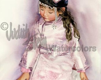 """Mongolian Girl in Traditional PInk Silk Dress & White Pearls, Adoption, Children Watercolor Painting Print, Wall Art, Home Decor, """"Sahkna"""""""