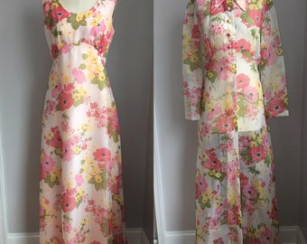 Vintage 1970's Pink Poppies Print Nylon Chiffon Maxi Dress with Matching Full Length Sheer Coat Jacket Size Medium