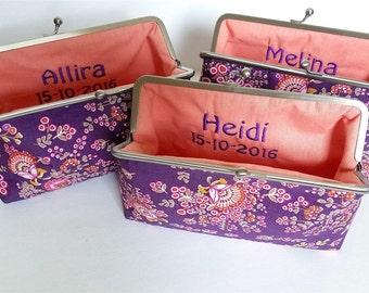 Purple Bridesmaid Clutch Set, Vintage Style Clutch Purse, Boho Paisley Gift Clutch Set, Fun Floral Purse, Bridesmaid Clutch Bridal Party