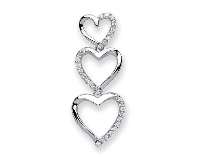 9ct White Gold 0.15ct Diamond Trilogy Heart Drop Pendant 25x10mm