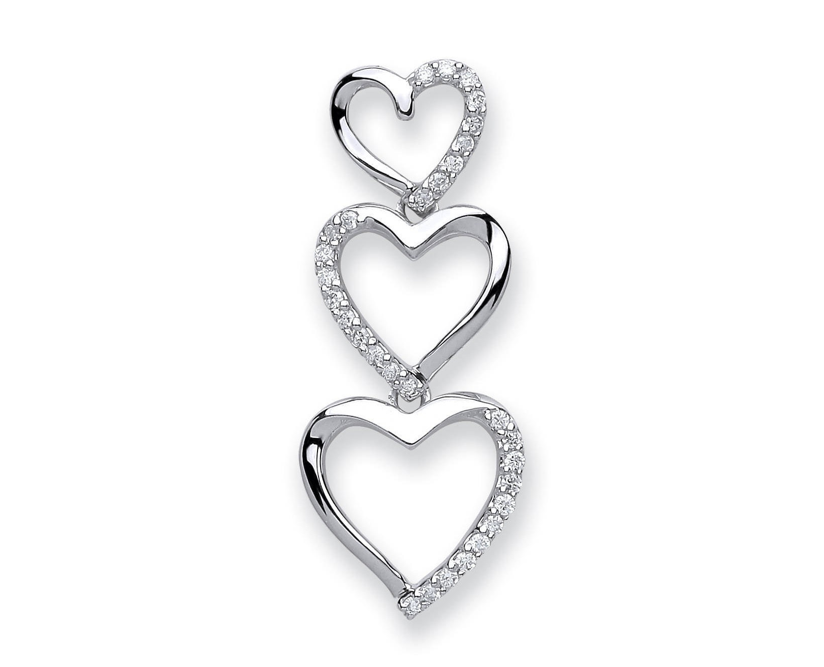 9ct white gold 015ct diamond trilogy heart drop pendant 25x10mm audiocablefo