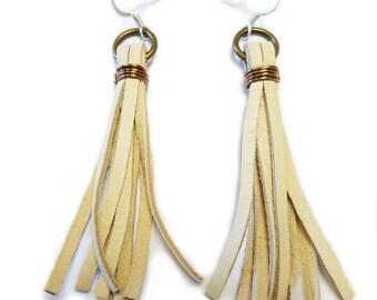 Everyday Earrings, Leather Earrings, Tassle Earrings, Cream Leather Tassle, Leather Tassel Earrings, Cream Tassel Earrings, Leather Fringe