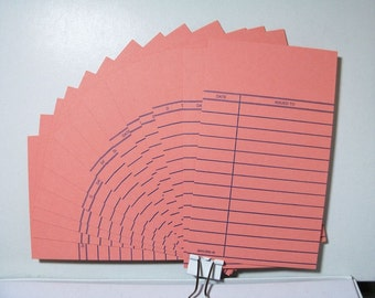 24 Library Cards, Cards, Wedding Invitation, Library card invitation,  Salmon, Journal Spot,