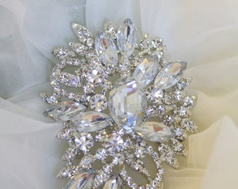 6 Rhinestone Brooches- Crystal Brooches- Vintage Style BroochesPerfect For Bridal Wedding Bouquets -