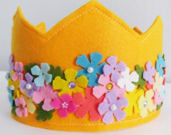 Felt Crown, Birthday Crown, Adjustable Size, Crown and tiaras, Party Crown, Girls Birthday Crown, Kids Birthday Gift, crown for birthday