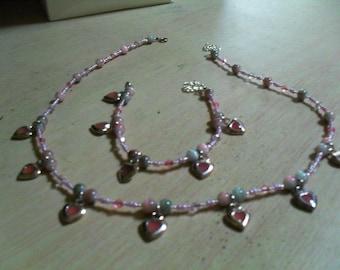 set (necklace and bracelet) modern, summer, original (Pink)