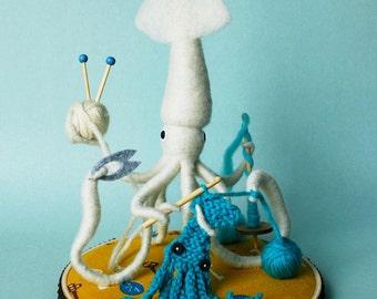 Print: Mr. White Squid, A Very Handy Crafter, Single - Digital Plush Art Photo Craft Knit Crocheting Needlefelting walldecor hinemizushima