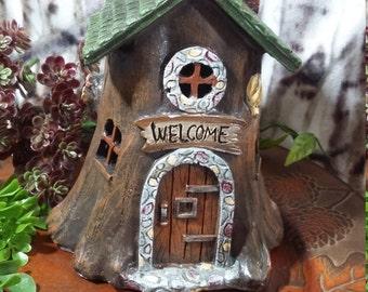 Fairy Garden Miniature Fairy House, Tree Stump Woodland Fairy Garden House, Light Up Resin Home for Fairies, Fairy Home, Gnome Home